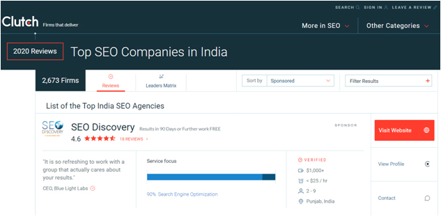 Clutch - Top SEO companies in india